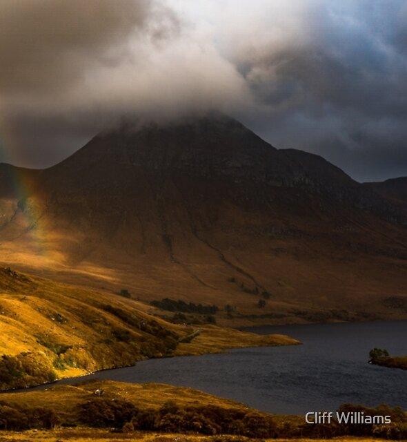 Rainbow at Cul Beag, Assynt, Scotland by Cliff Williams