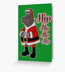 Hip Ho Ho Ho- Funny Christmas Hippo Greeting Card