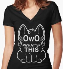 OwO What's this? - white text Women's Fitted V-Neck T-Shirt