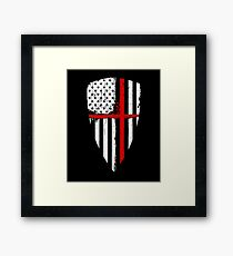 Red Line Crusader American Flag Shield Graphic Framed Print