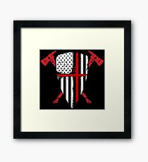Red Line Crusader USA Flag Shield Crossed Fireman Axes Framed Print