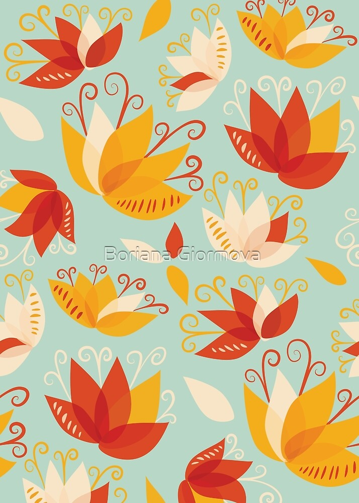 Whimsical Abstract Colorful Lily Flowers Pattern by Boriana Giormova