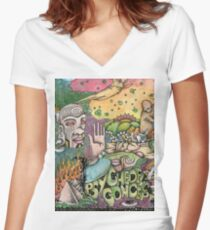 Psychedelic Art  Women's Fitted V-Neck T-Shirt
