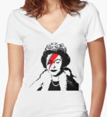 """Banksy - """"space queen"""" Women's Fitted V-Neck T-Shirt"""