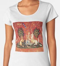 LADY AND UNICORN ,SIGHT  Red Green Fantasy Flowers,Animals Women's Premium T-Shirt