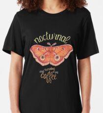 nocturnal orange moth running on coffee on dark background Slim Fit T-Shirt