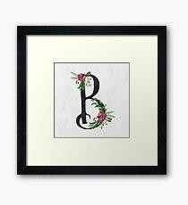 Monogram B with Floral Wreath Framed Print