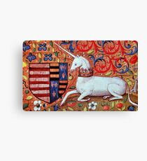 UNICORN WITH RED BLUE FLORAL MOTIFS Canvas Print