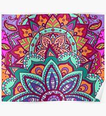 Bohemian Carnival Floral Mandala Poster