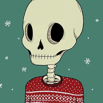 Skeleton in Christmas Sweater by agrapedesign