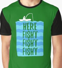Here Fishy Fishy Fishy (white) Graphic T-Shirt
