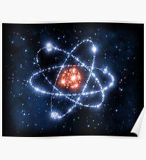 Wissenschafts-Zeichen-Symbol-Atom-Raum-Sterne Poster