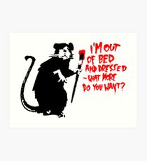 Banksy - Out of Bed Rat Art Print