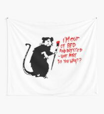 Banksy - Out of Bed Rat Wall Tapestry