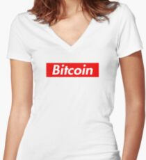 Bitcoin Supreme Tee Shirt Women's Fitted V-Neck T-Shirt