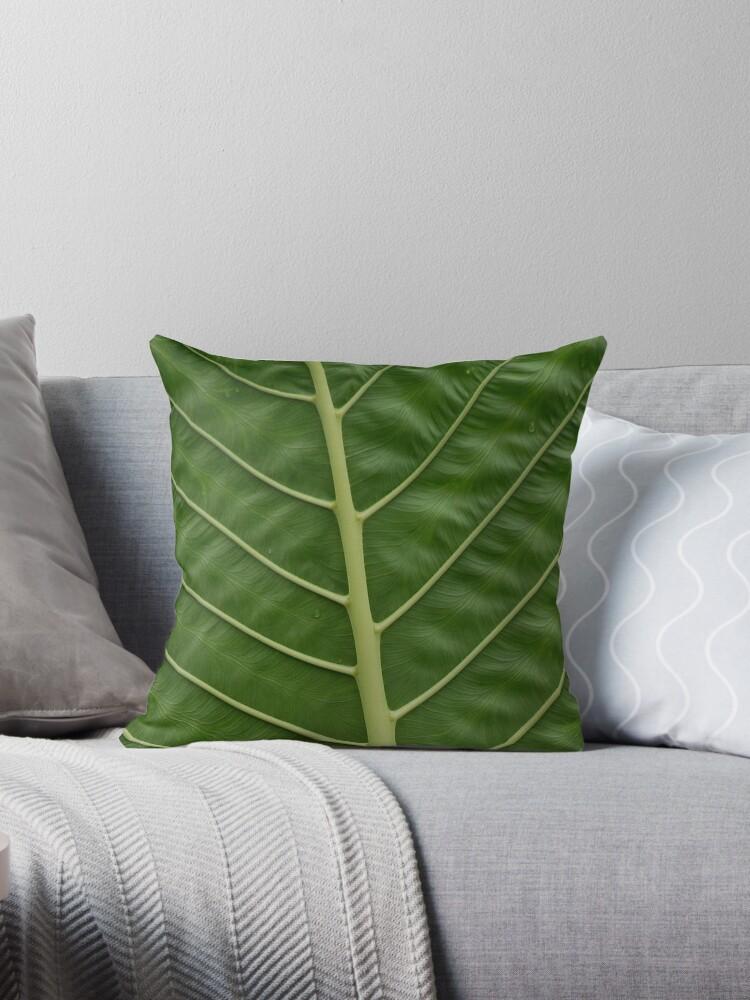 Green Tropical Rainforest Taro Leaf Veins Pattern by HotHibiscus
