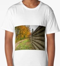 Wooden  fence in autumn Long T-Shirt