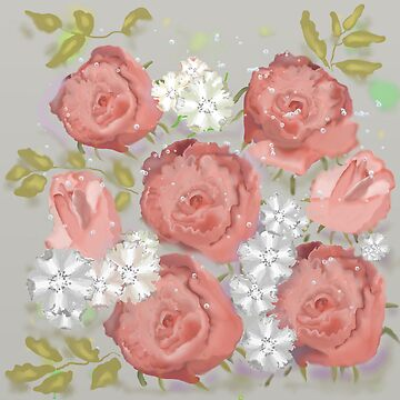 pink watercolor roses pattern by Valiante