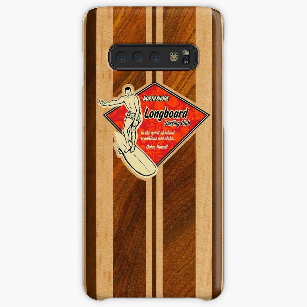 Waimea Hawaiian Faux Koa Wood Tabla de surf Funda y vinilo para Samsung Galaxy