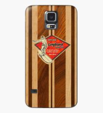 Waimea Hawaiian Faux Koa Holz Surfbrett Hülle & Klebefolie für Samsung Galaxy