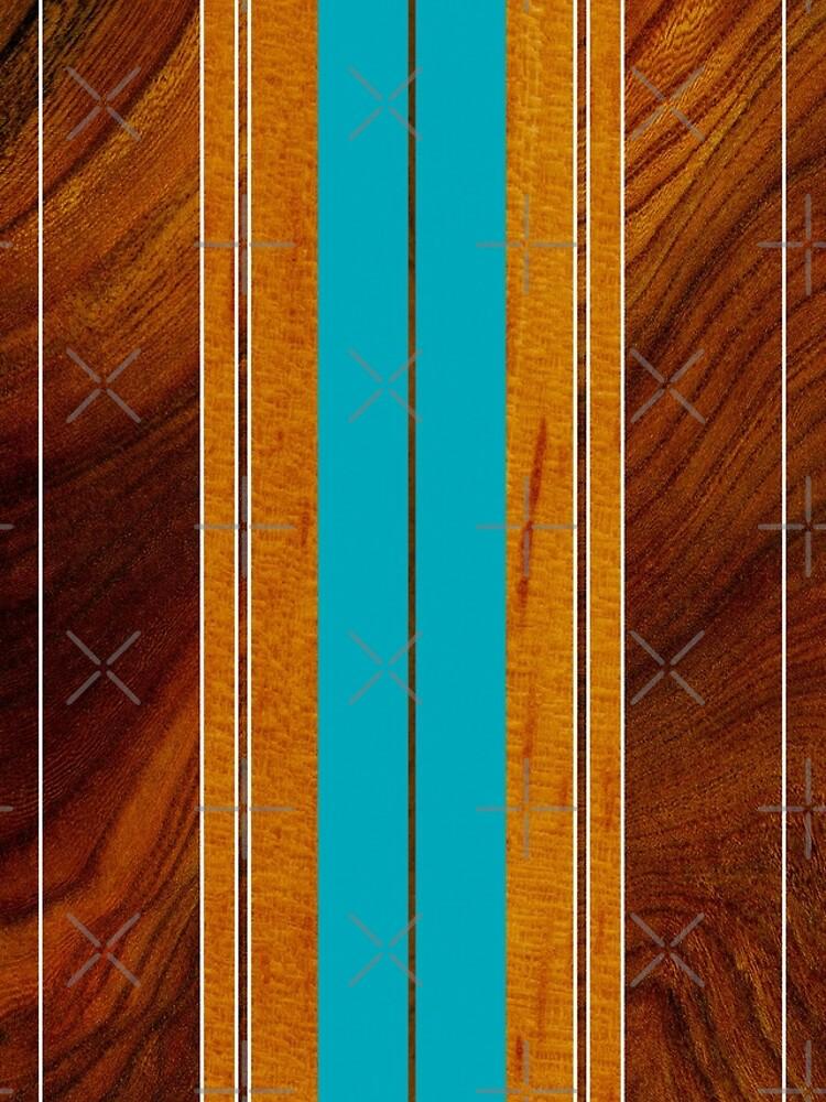 Nalu Mua Hawaiian Faux Koa Wood Surfboard - Teal by DriveIndustries