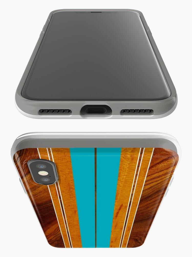 Alternate view of Nalu Mua Hawaiian Faux Koa Wood Surfboard - Teal iPhone Cases & Covers