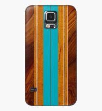 Nalu Mua Hawaiian Faux Koa Wood Surfboard - Teal Case/Skin for Samsung Galaxy
