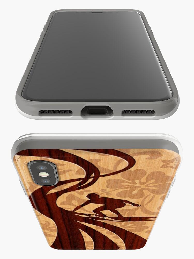 Alternate view of Faux Koa Wood Hawaiian Surfer  iPhone Cases & Covers