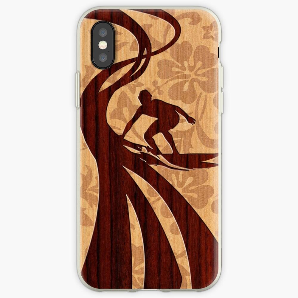 Faux Koa Wood Hawaiian Surfer  iPhone Cases & Covers