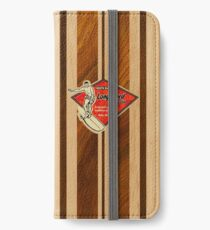Waimea Hawaiian Faux Koa Wood Surfboard   iPhone Wallet/Case/Skin