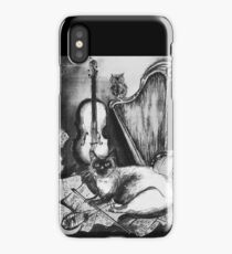 MUSICAL CAT AND OWL WITH MUSIC INSTRUMENTS Black and White iPhone Case