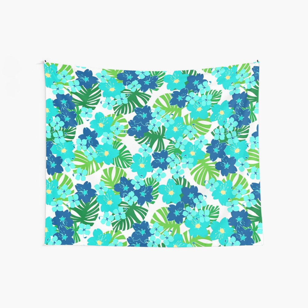 Limahuli Garden Faux Wood Hawaiian Surfboard - Teal and Lime Wall Tapestry