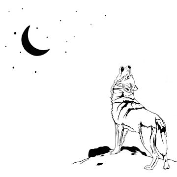 Howling Wolf and Moon by clarafornia