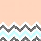 Color Blocked Chevron - Peach by Josrick