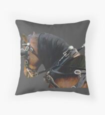 Pony in Harness grey Throw Pillow