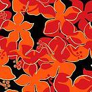 Hanalei Hawaiian Floral Camo Aloha Shirt Print - Red, Orange & Black by DriveIndustries