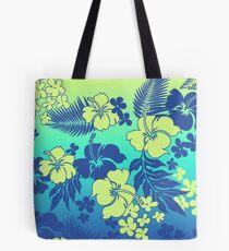 Kona Blend Hawaiian Hibiscus Aloha Shirt Print- Turquoise Tote Bag