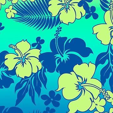 Kona Blend Hawaiian Hibiscus Aloha Shirt Print- Turquoise by DriveIndustries