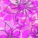 Olowalu Hawaiian Hibiscus Aloha Shirt Print- Pink and Violet  by DriveIndustries
