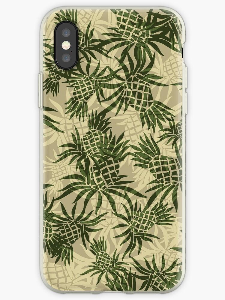 57025e17 Pineapple Camo Hawaiian Aloha Shirt Print - Olive & Khaki
