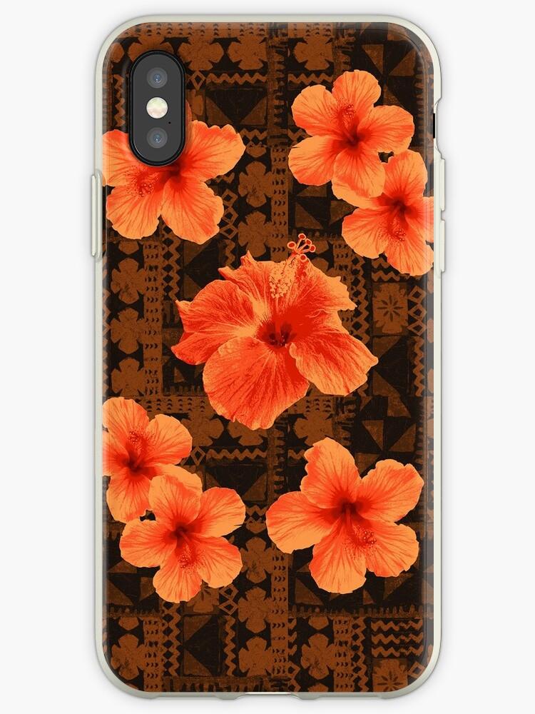 Kalalau Tapa Hawaiian Hibiscus Vintage Aloha Print - Orange & Brown by DriveIndustries