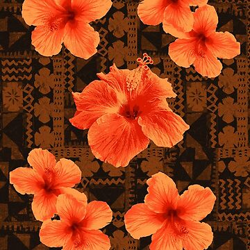 Kalalau Tapa Hawaiian Hibiscus Vintage Aloha Print - Orange & Brown by DriveIndustries