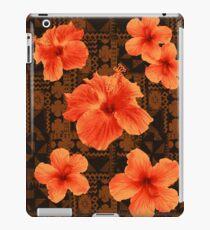 Kalalau Tapa Hawaiian Hibiscus Vintage Aloha Print - Orange & Brown iPad Case/Skin