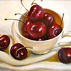 Still Life in Red and White...Cherries.. by ©Janis Zroback