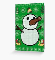 Christmas Penis Snowman Sweater (not ugly) (black) Greeting Card