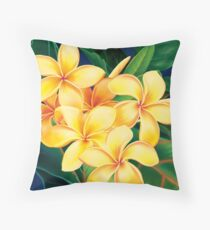 Tropical Paradise Hawaiian Plumeria Illustration Throw Pillow