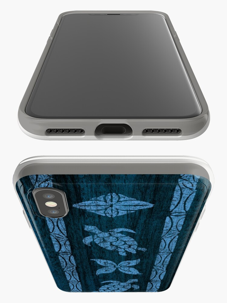 Alternate view of Samoan Tapa Faux Koa Wood Hawaiian Surfboard - Blue iPhone Cases & Covers