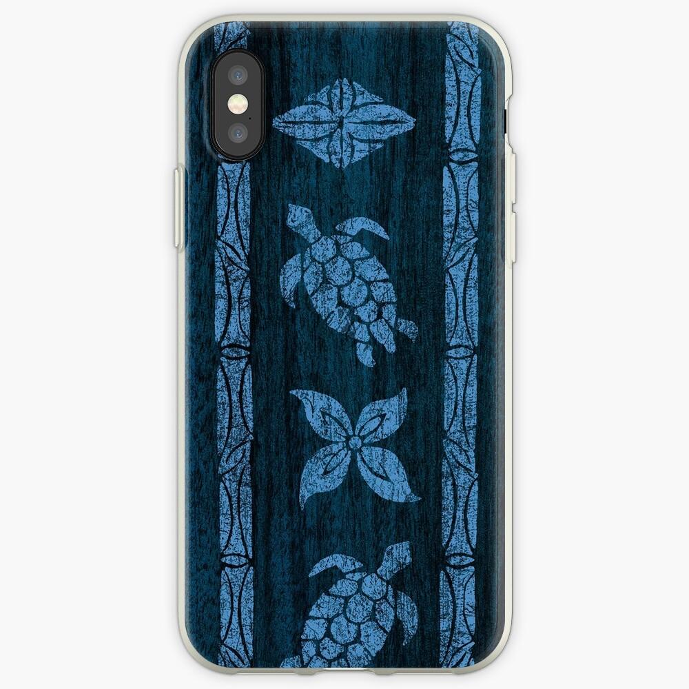 Samoan Tapa Faux Koa Wood Hawaiian Surfboard - Blue iPhone Cases & Covers