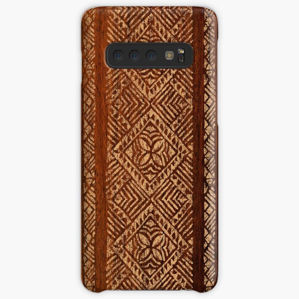 Samoan Tapa Faux Koa Wood Hawaiian Surfboard Funda y vinilo para Samsung Galaxy