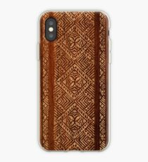 Samoan Tapa Faux Koa Wood Hawaiian Surfboard  iPhone Case